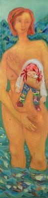 Badende mit Puppe | Öl auf Leinwand | 2006 | 40x120cm