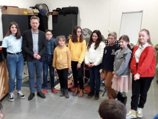 Le groupe des pianistes et François Dolin leur professeur