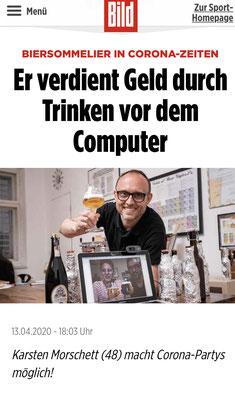 BILD über Biersommelier.Berlin - Online-Bierverkostung - Karsten Morschett, April 2020
