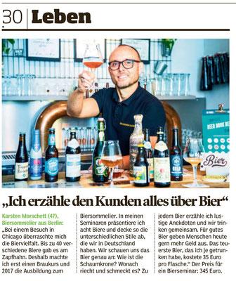 BILD am Sonntag über Biersommelier.Berlin Karsten Morschett, Bierverkostung - Text Laura Block, Foto Niels Starnick