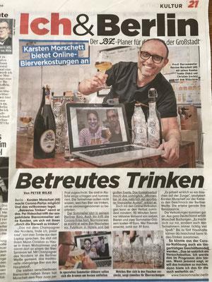 B.Z. über Biersommelier.Berlin - Online-Bierverkostung - Karsten Morschett, April 2020