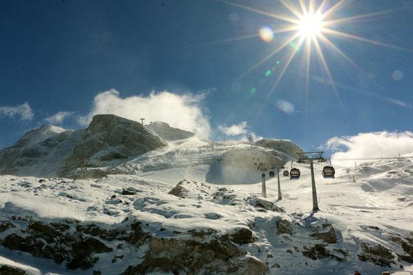 strahlender Sonnenschein auf dem Gletscher