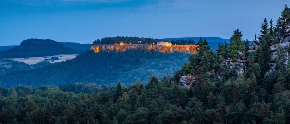Königstein Fortress during blue hour