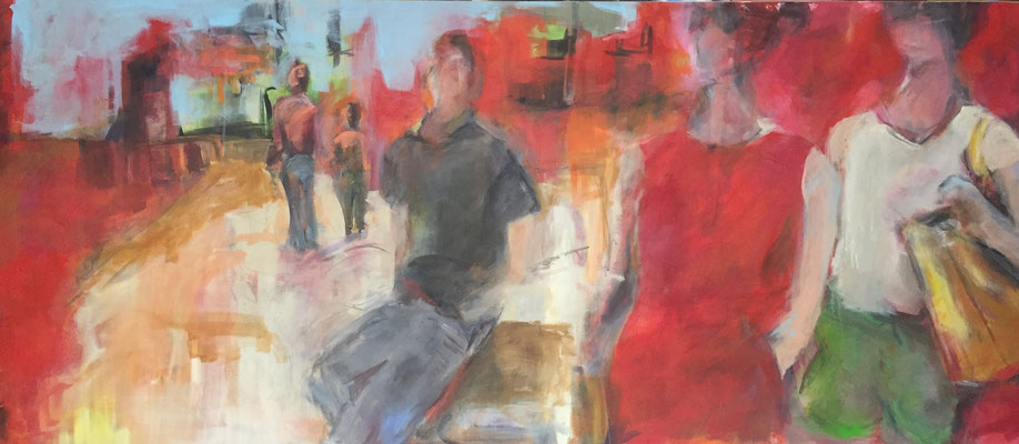 People in Town, 200x100 cm, Acryl auf Leinwand