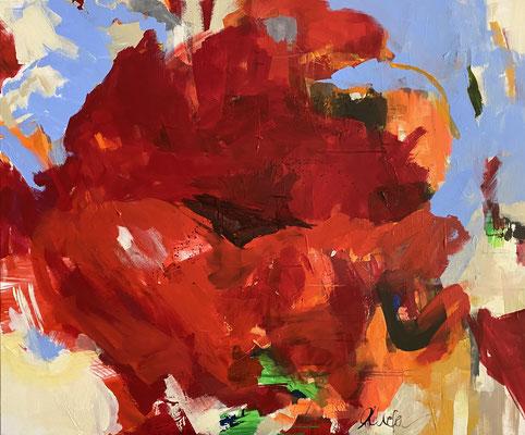 red blossom, 100x120 cm, Acryl auf LW
