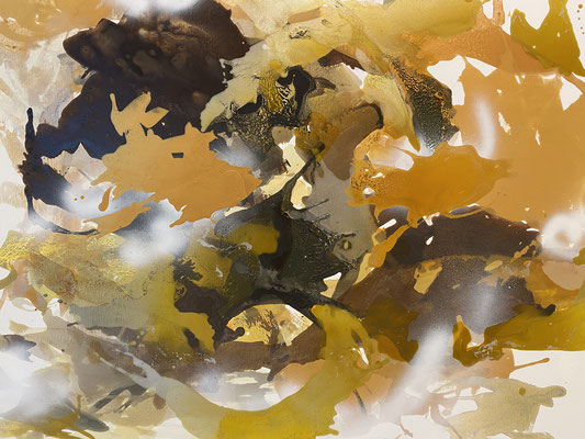 Abstract in Gold, 120x100cm, mixed media