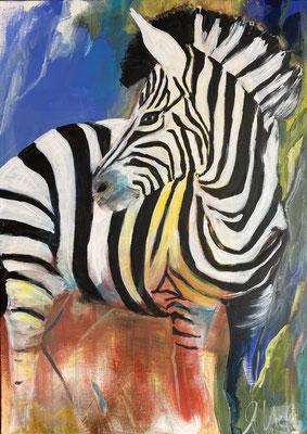 """50x70cm, Acryl auf LW, """"Little Zebra I"""""""