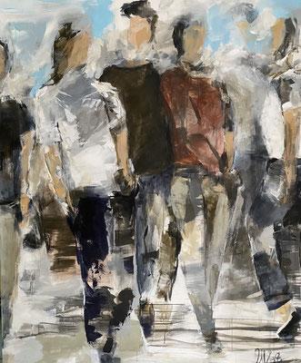 """People I"" 120x150cm, Acryl und Pigmente auf LW"
