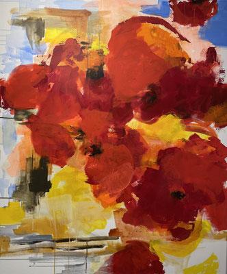 red flowers I, 100x120 cm, Acryl auf LW