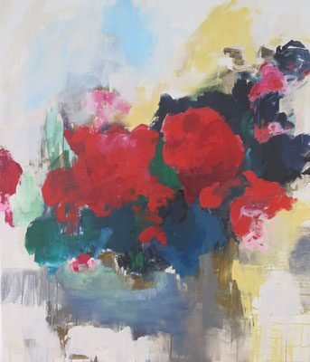 Red Summer Flowers, 120x140cm, Mischtechnik auf LW