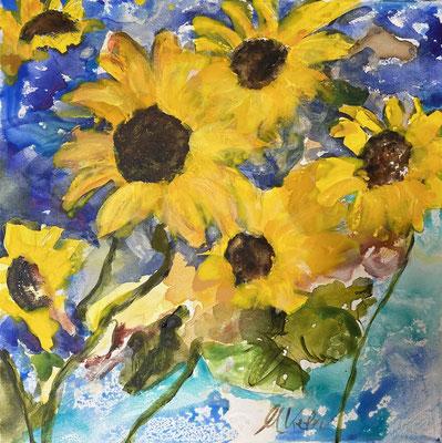 Flowers in the sun, 50x50cm, Acryl auf LW
