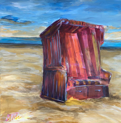 """Strandkorb"", 100x100 cm, Aryl und Pigmente auf LW"