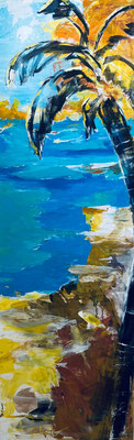 Palme am Strand, 60x180 cm, Acryl u Pigmente auf LW