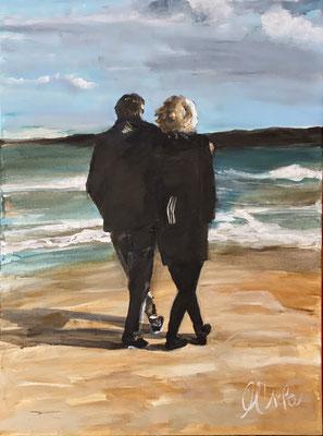 Spaziergang am Strand, 2020, Acryl u Pigment auf LW, 50x70cm