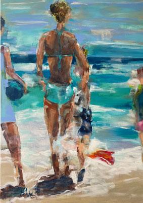 People on the beach, 100x140 cm, Acryl auf Leinwand