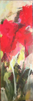 Abstract Flowers, 50x150cm, Mischtechnik auf LW
