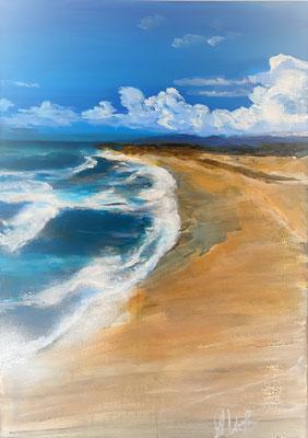 Beach 50x70cm, Acryl und Pigment auf LW