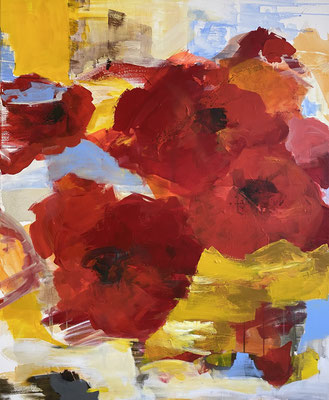red flowers II, 100x120 cm, Acryl auf LW