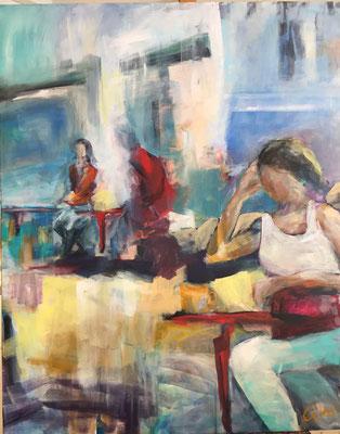 Straßencafé, 90x110 cm, Acryl auf Leinwand