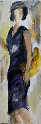 Woman with yellow bag, 2020. 40x120, Acryk u Pigment auf LW