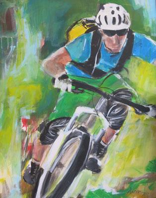 70x100, Biking, Acryl auf Leinwand