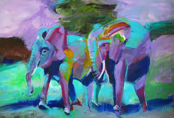 "80 x 100 cm, Acryl auf Leinwand, ""Spaziergang im Wald"" ,"