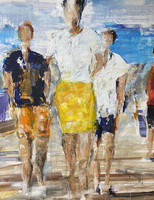 Walking along the promenade, 2020, Acryl u Pigment auf LW, 120x160cm