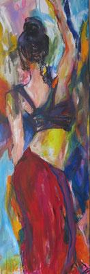 Dancing Woman, Acryl auf Leinwand,  B 40 x  H120 cm
