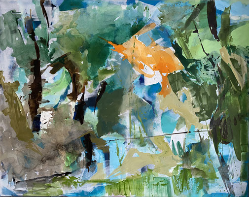 """Walking through the forrest I""  ca. 195 x 145cm, Acryl, oil and pigments auf Leinwand"