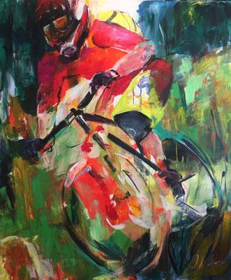 130x100 cm, Down Hill, Acryl auf Leinwand