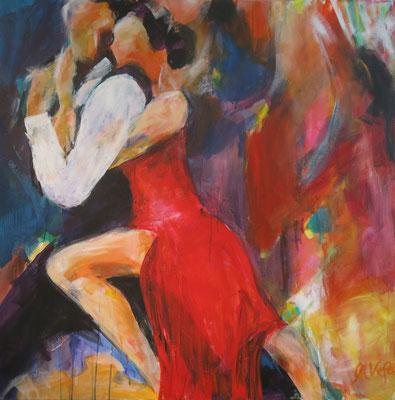 Tango, Acryl auf Leinwand,  B 100 x  H100 cm