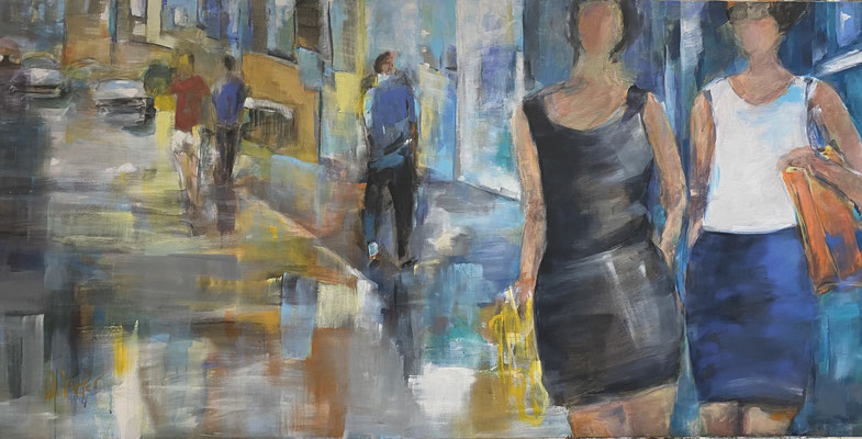 People in Town, 200x100 cm, Acryl auf LW