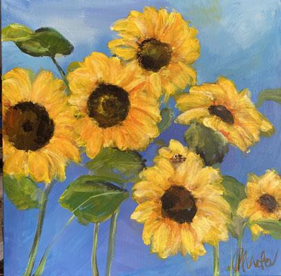 Sonnenblumen, 50x50cm, Acryl auf LW