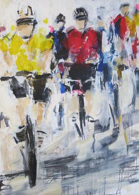 140x100cm , Tour de France,  Acryl auf Leinwand
