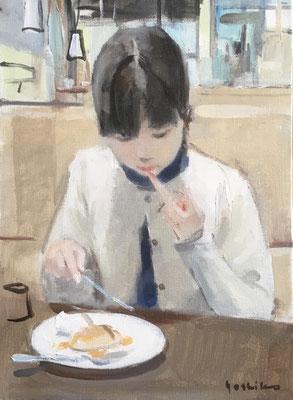 「パンケーキ」F4 油彩 パンケーキのシロップが手についてペロッとしたところ。絵に描きたいと思いました。