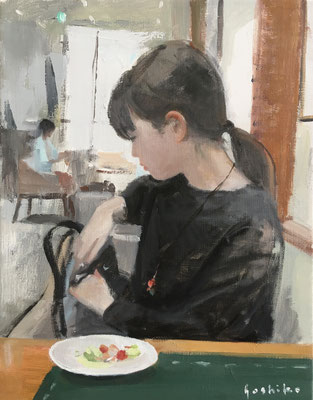 ランチ F6 油彩 娘とランチに行きました。最近は外食をすると携帯でお料理の画像を保存するのがお決まりです。この後パスタが運ばれてきます。