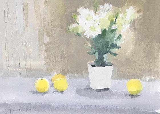 「小夏と白い花」ガッシュ4号大【個人蔵】