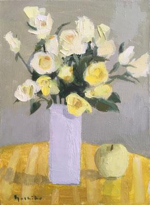 「黄色いバラ」 F4 油彩 長い時間描きかけのものを置いていました。