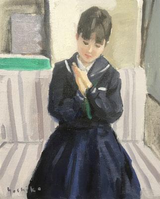 「いいことがある日」F3 油彩 娘が今より、少し幼い。アトリエでモデルをしながら、おしゃべりが絶えません。昨日仕上がったばかりの絵です。