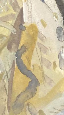 大きな編み込みのカーディガン。お水と絵具たっぷりで描きました。