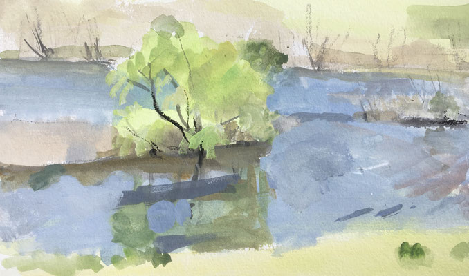 春の川辺(吉井川) 4号大 水彩(ガッシュ)[ご希望の方あり] 今年はよく外で描きます。春になっていく様子が肌や耳、匂いで感じられます。この日は描いている間中、雲雀がさえずっていました。