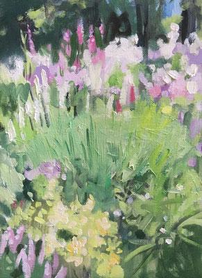 奮闘中の花のある風景…とても難しい。今、流れを考えて描いています。