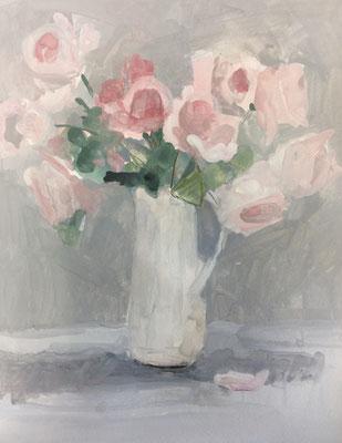 薔薇 6号 水彩 ほぼ仕上がり。あと少し触ります。