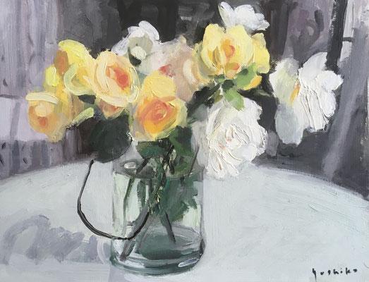 「庭のバラ」F6油彩