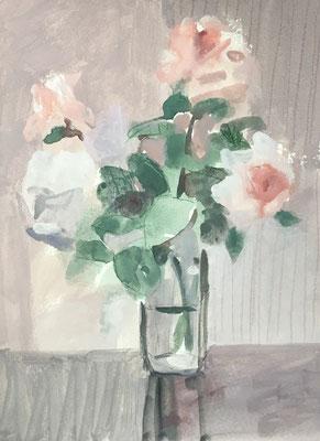 「庭のバラ」ガッシュ4号大【個人蔵】