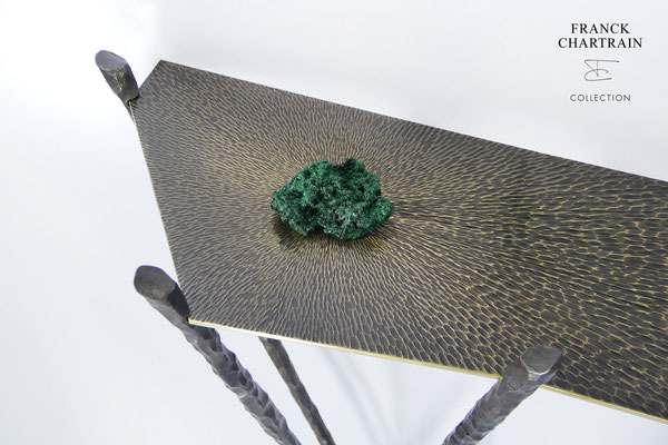 METEORITES CONSOLE  Bronze, wrought iron and malachite