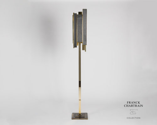 LAMPE PHOENIX Bronze, bois brûlé
