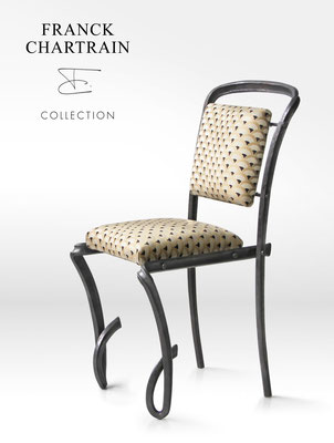 FORGE BOUCLE CHAIR Wrought iron, fabric