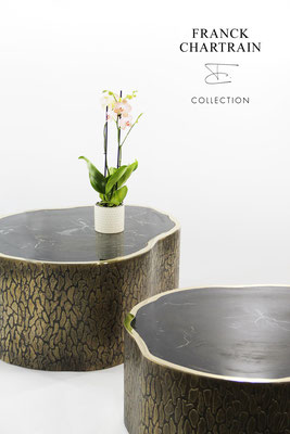 MAGNOLIA TABLES Textured bronze, polished bronze, silicified wood