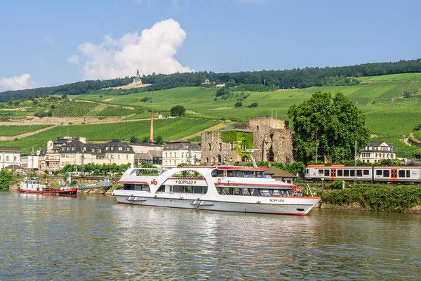 Rüdesheim, im Hintergrund das Niederwalddenkmal